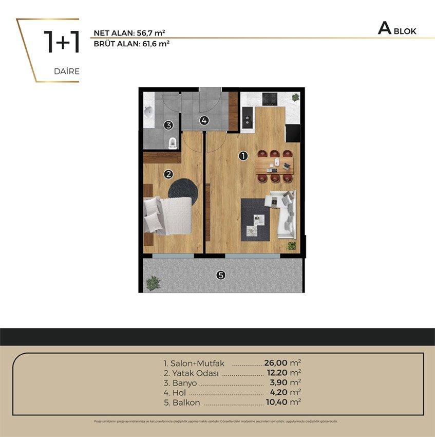 Luwi Residence ablok1 1 Kat Plani