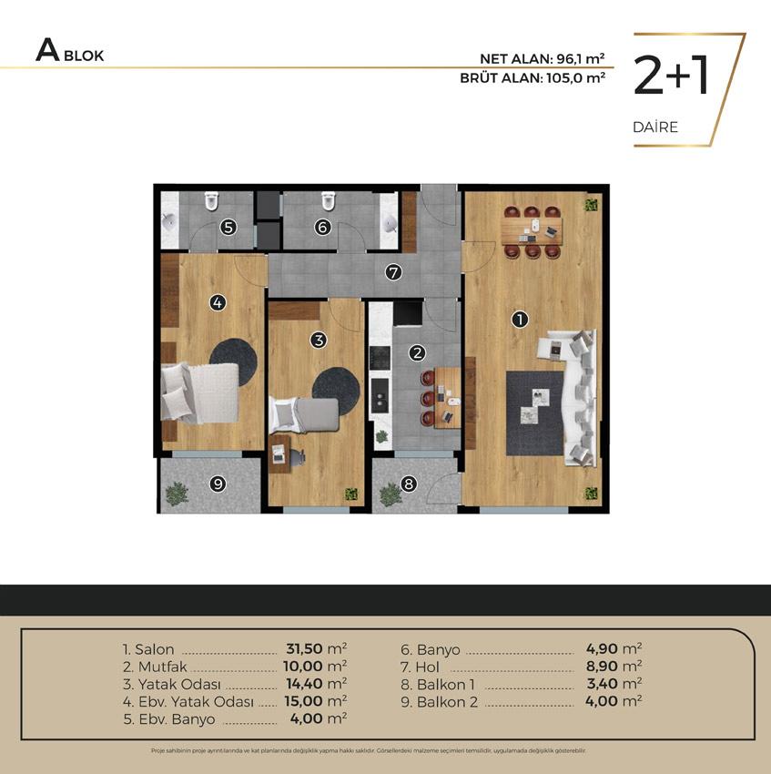 Luwi Residence ablok2 1 Kat Plani