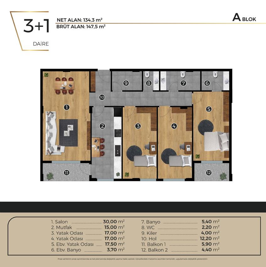Luwi Residence ablok3 1 Kat Plani