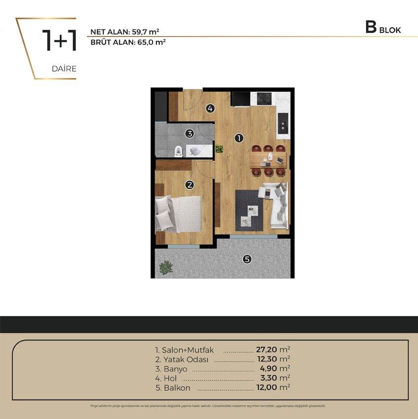 Luwi Residence bblok1 1 Kat Plani