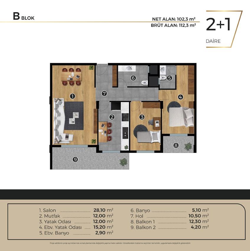 Luwi Residence bblok2 1 Kat Plani