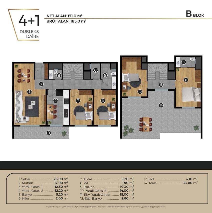 Luwi Residence bblok4 1 Kat Plani