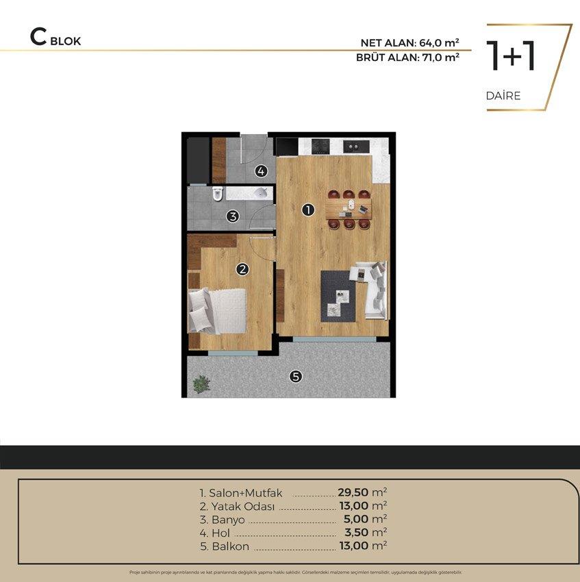 Luwi Residence cblok1 1 Kat Plani