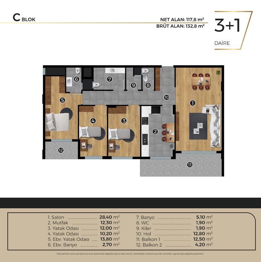 Luwi Residence cblok3 1 Kat Plani