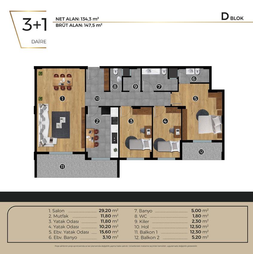 Luwi Residence dblok3 1 Kat Plani